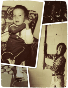 a collage of photos of Instant Plumbing's owner as a child