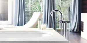 modern silver Grohe tub filler