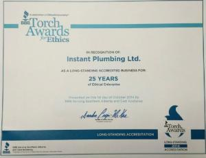 BBB Ethics Award 25 years Instant Plumbing