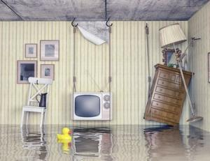 A flooded room full of furniture.