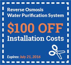 Instant Plumbing coupon for July, 2016 - $100 off Installation costs for a reverse osmosis purification system