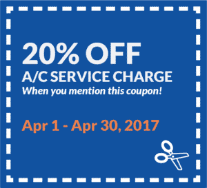Coupon for 20% off A/C service charge, when you mention this coupon. Valid from April 1 to 30, 2017.