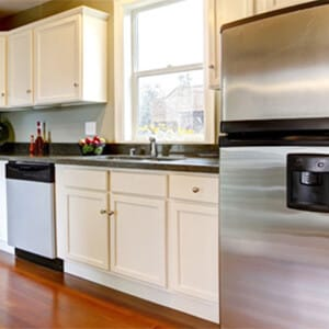 Kitchen with stainless steel dishwasher and fridge