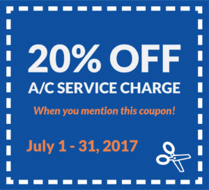 20% off A/C service charge when you mention this coupon. Valid from July 1 - 31, 2017