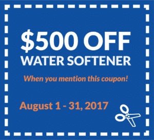 Coupon for $500 off a water softener, when you mention this coupon. Valid from August 1 to 31, 2017.